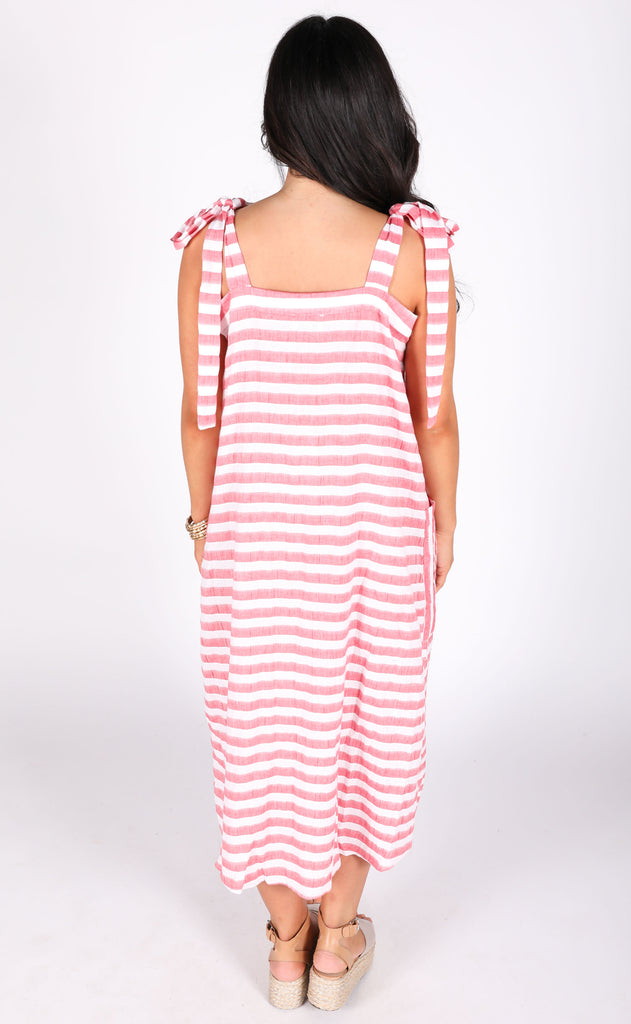show me your mumu: lucas midi dress - dock stripe red
