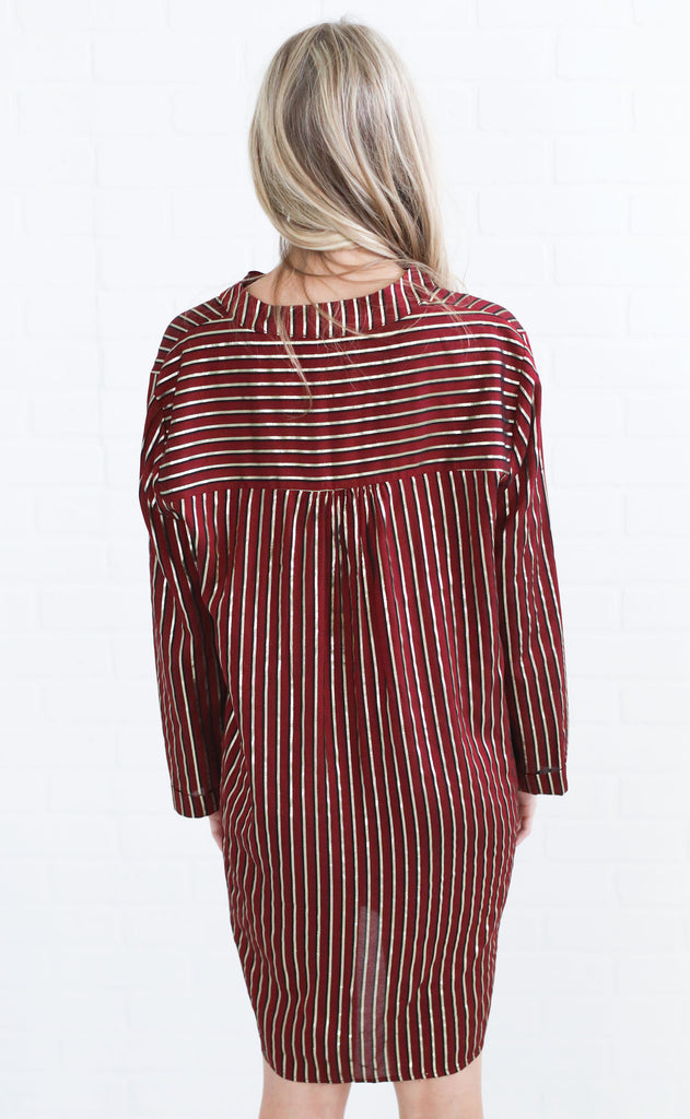 show me your mumu: maribelle shirt dress - late night stripe yarn dye