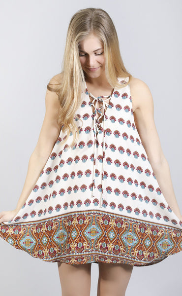 show me your mumu: rancho mirage lace up dress - the victorian