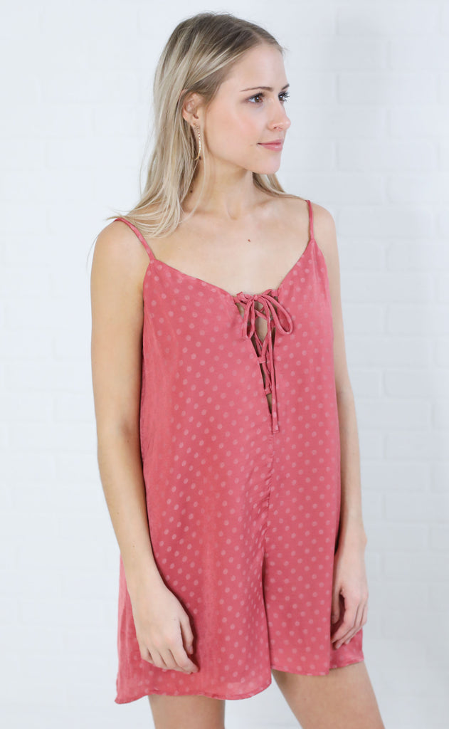 show me your mumu: rebel romper - sangria silky dots