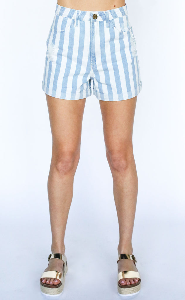 show me your mumu: raleigh roll up shorts - marina stripe
