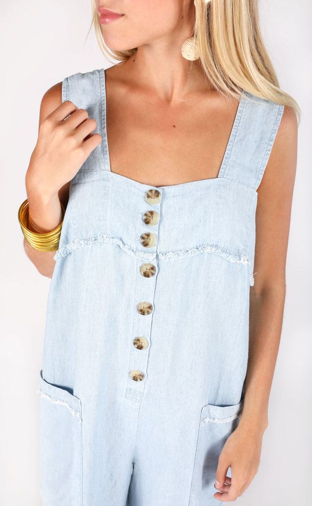 show me your mumu: runaround jumpsuit - shore chambray