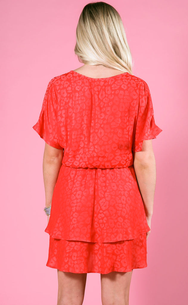 show me your mumu: sandrine ruffle dress - red silky cheetah