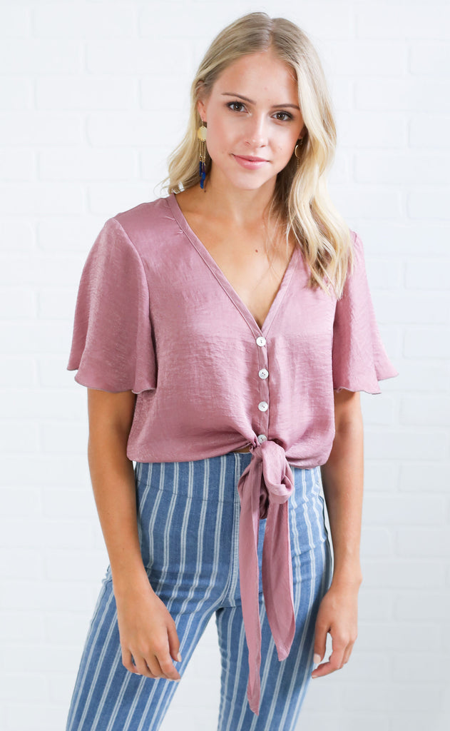 show me your mumu: tortuga tie top - mauve sheen