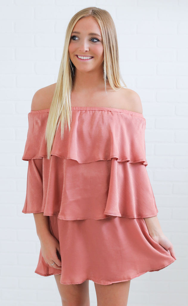 show me your mumu: triple decker romper - rustic mauve sheen