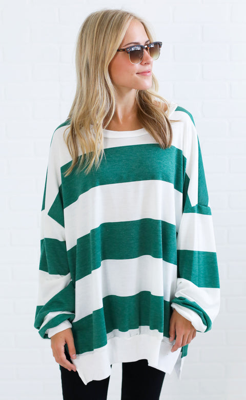 must be love striped pullover - green