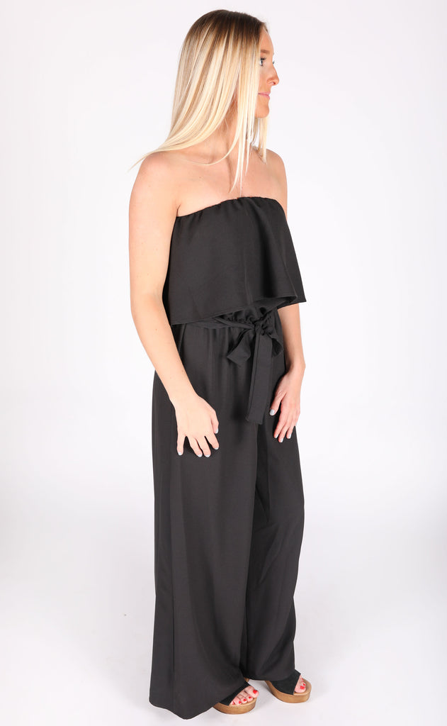 must be love strapless jumpsuit - black