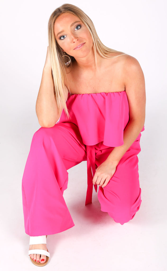 must be love strapless jumpsuit - hot pink