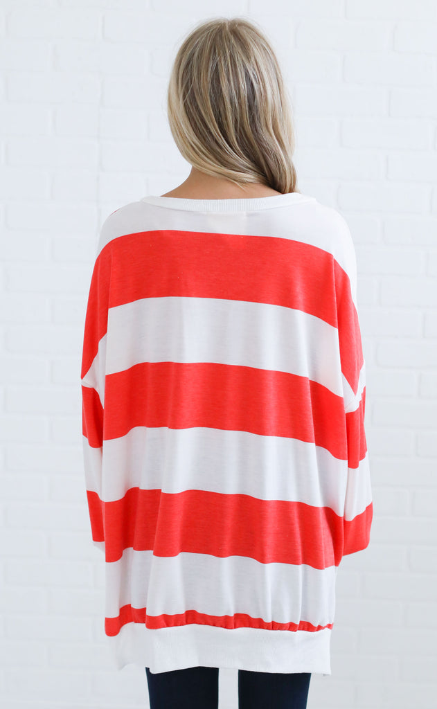must be love striped pullover - red
