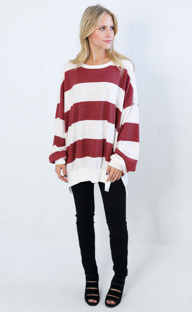 must be love striped pullover - burgundy