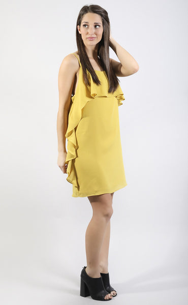 solid choice ruffle dress - mustard