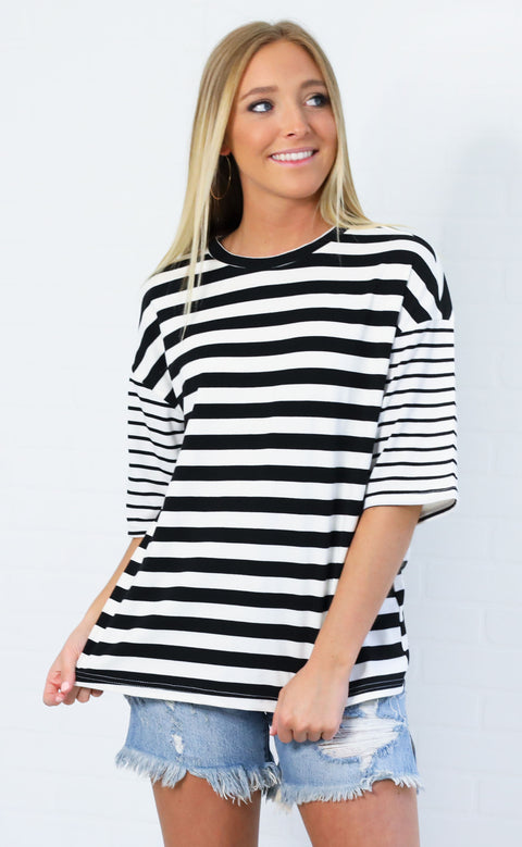 my type striped top - black
