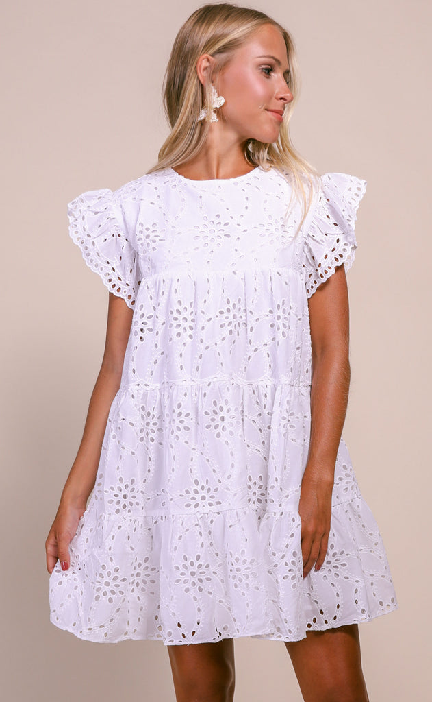 nantucket eyelet babydoll dress - ivory