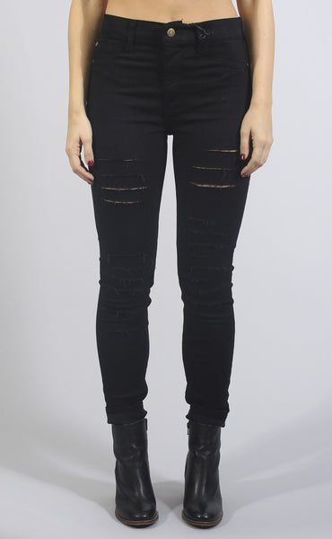 naomi high rise distressed denim - black