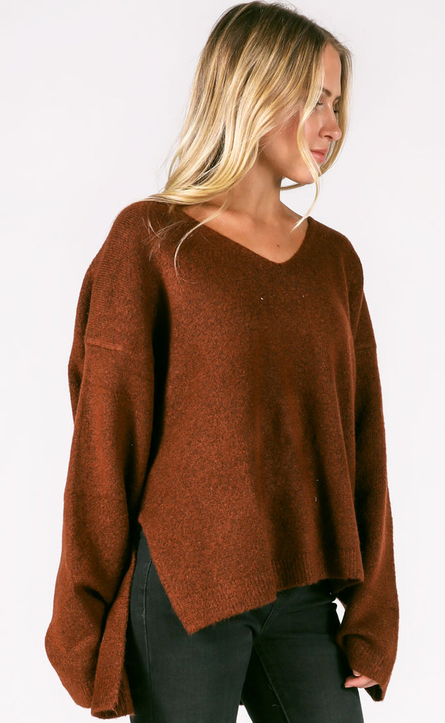 nevada v-neck sweater - coffee