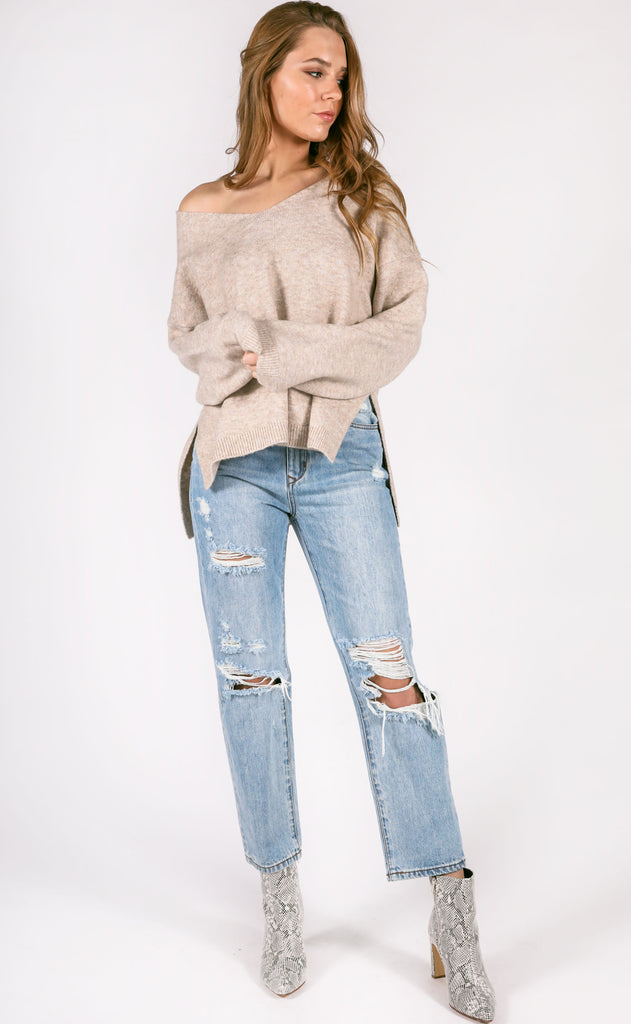 nevada v-neck sweater - oatmeal