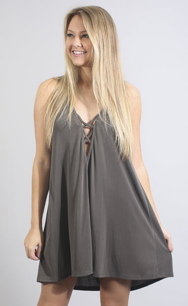 new low lace up dress - olive