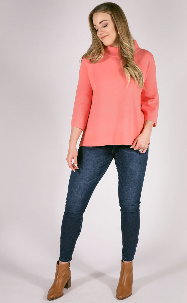 new york minute mock neck sweater - salmon