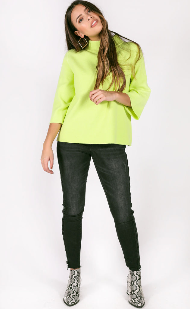 new york minute mock neck sweater - lime