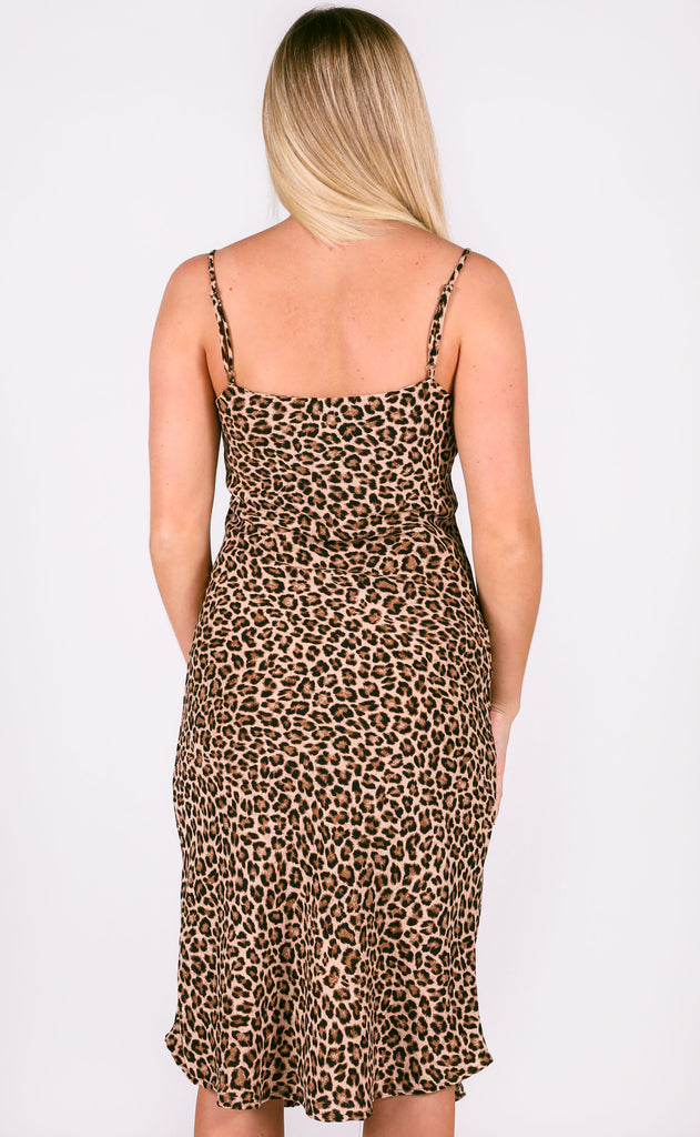 night out midi dress - tan leopard