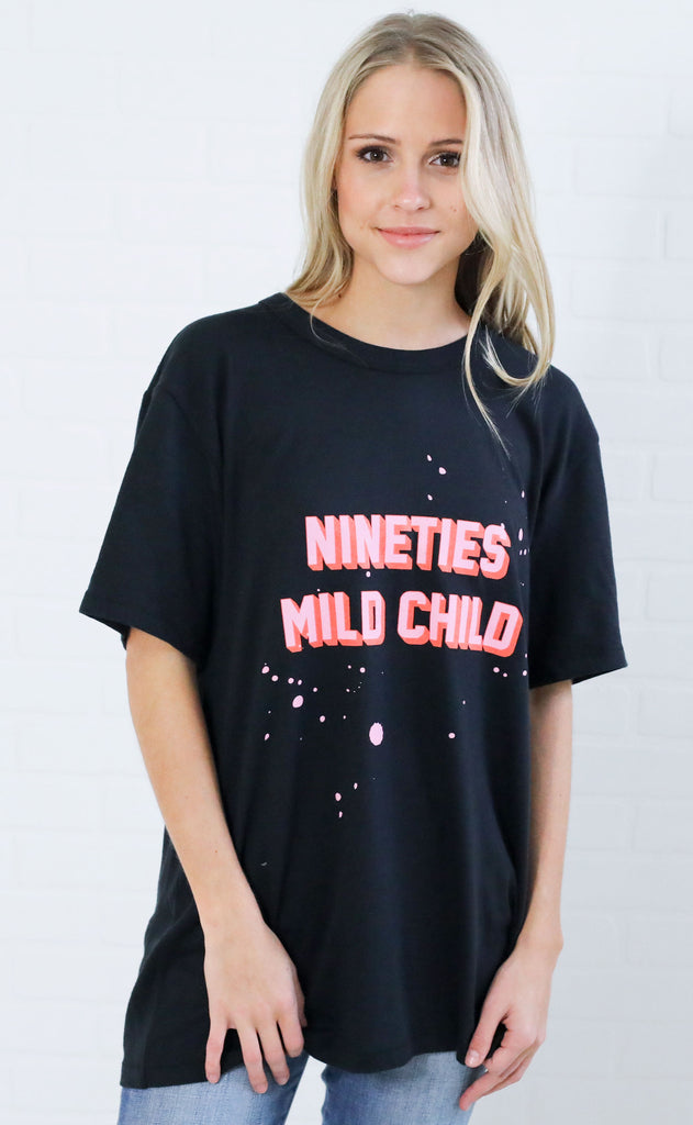 friday + saturday: 90s mild child t shirt