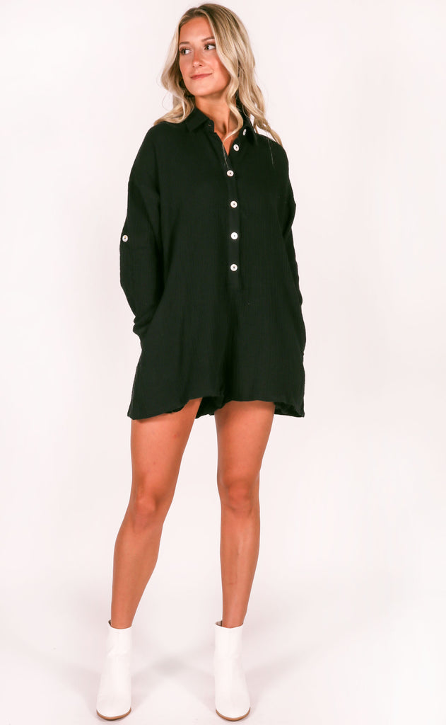 no plans button up romper - black