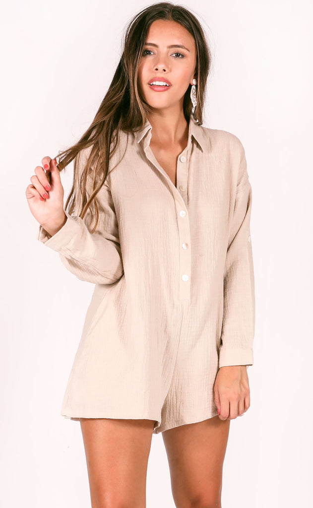 no plans button up romper - beige