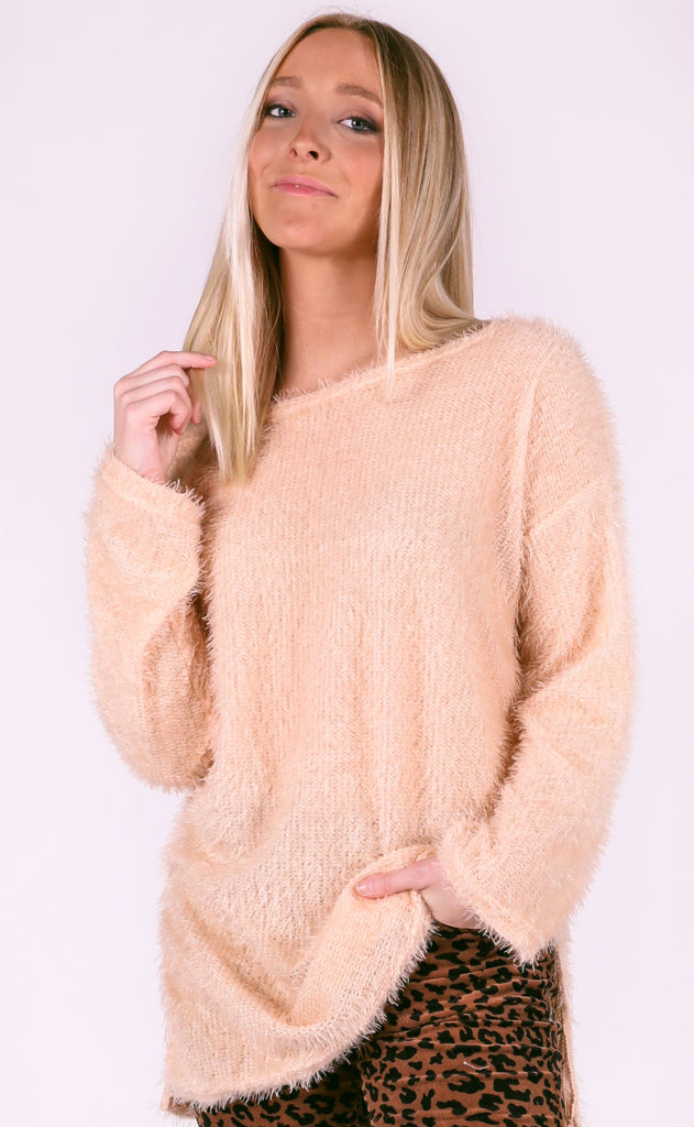 not so basic fuzzy sweater - peach