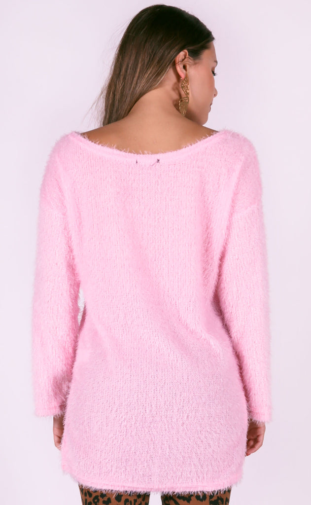 not so basic fuzzy sweater - blush