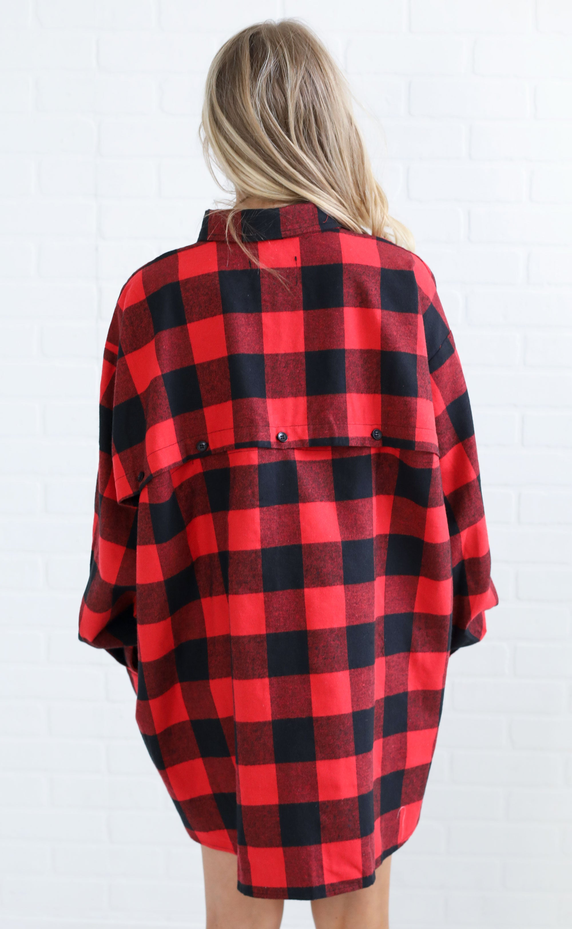 not your boyfriend's checked tunic - red