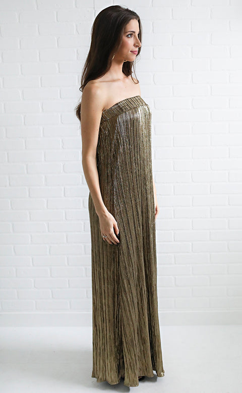 show me your mumu: nyki maxi dress - good as gold pleat