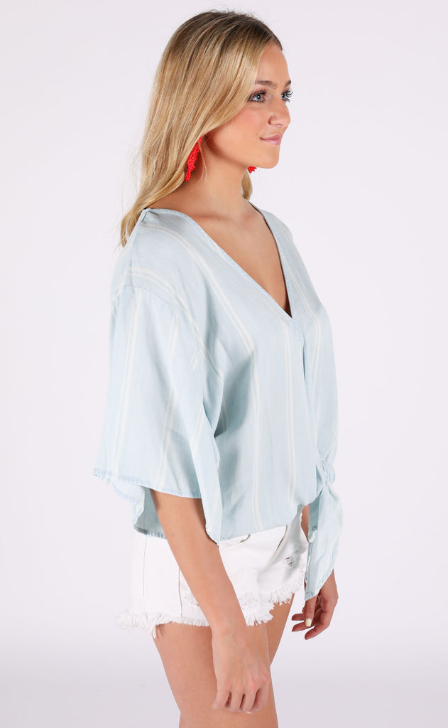 ocean breeze chambray top