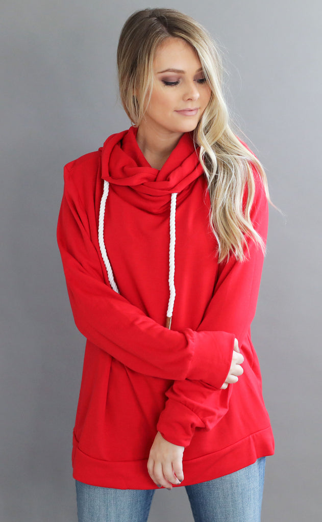 off duty knit pullover - bright red