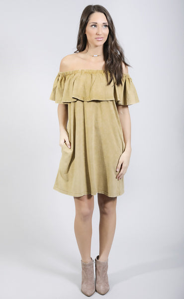 color of love off shoulder dress - mustard
