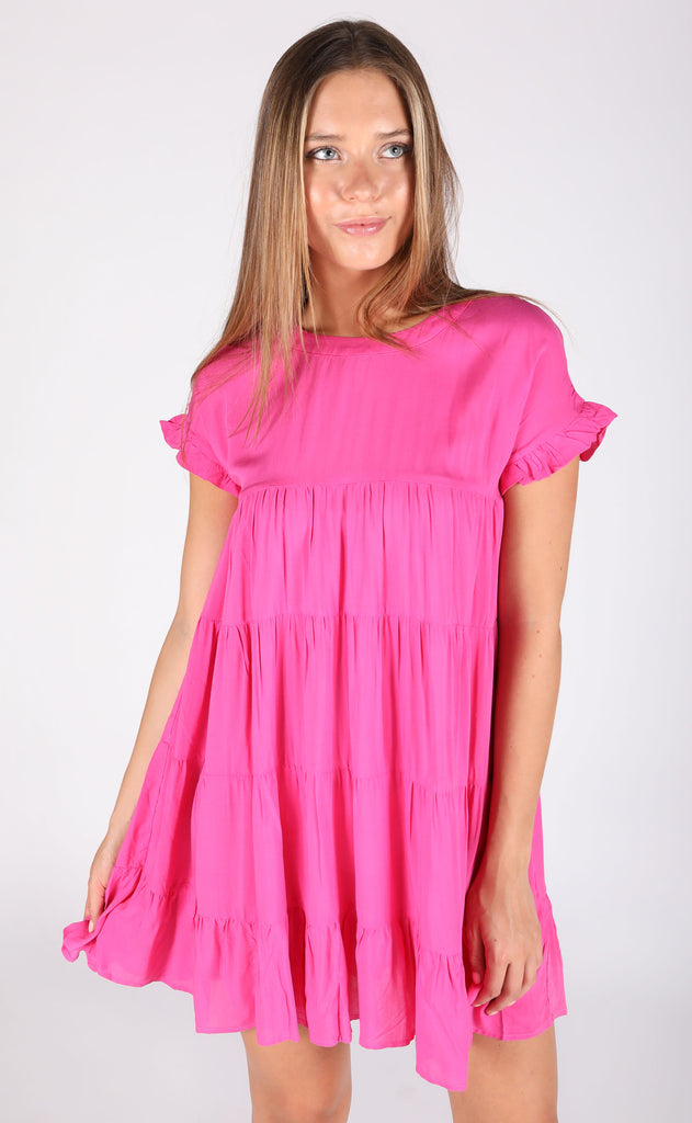 ooh la la babydoll dress - hot pink