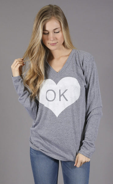 charlie southern: vintage heart long sleeve t shirt - oklahoma