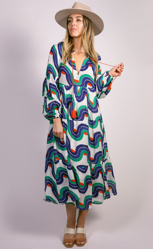 oliphant: balloon sleeve midi dress - navy nouveau