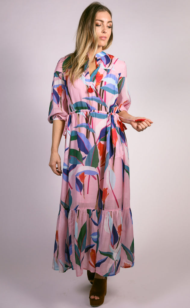 oliphant: cinched waist tassel dress - pink botanica