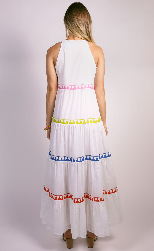oliphant: long tiered double tassel dress - salsa white