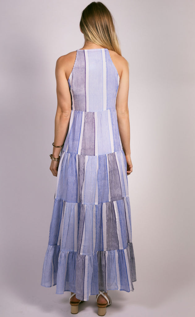 oliphant: long tiered double tassel dress - blue camden