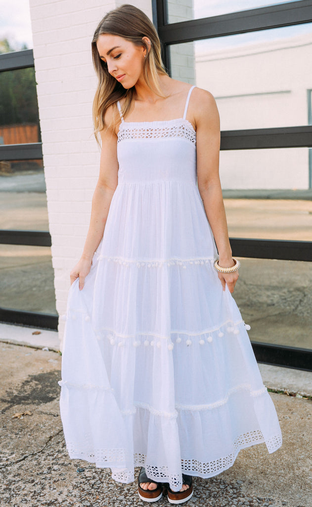 oliphant: pom pom tiered dress - white