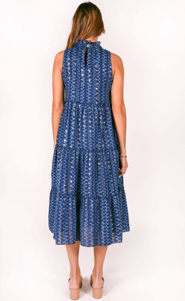 oliphant: tiered midi dress - rio blue