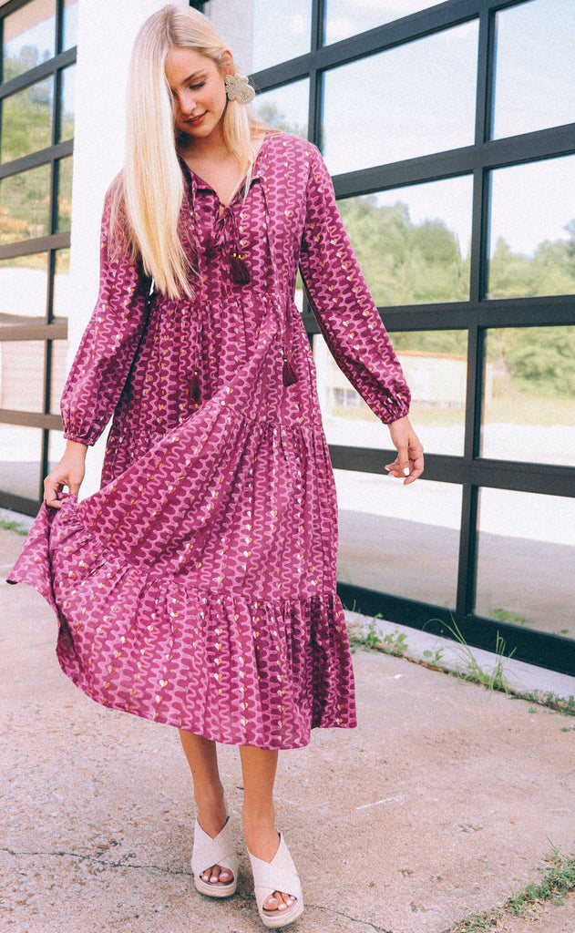 oliphant: long sleeve midi dress - wine