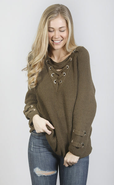 heavy knitter lace up sweater