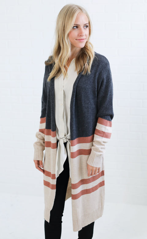 on rewind striped cardigan - charcoal