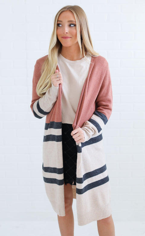 on rewind striped cardigan - rust
