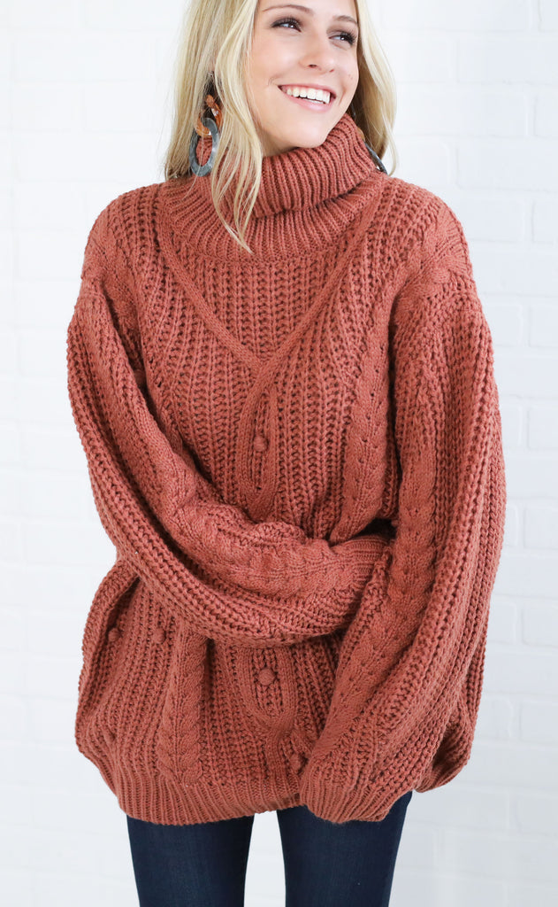 on the cowl knit sweater - brick