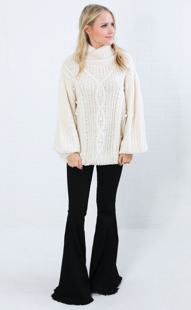 on the cowl knit sweater - cream