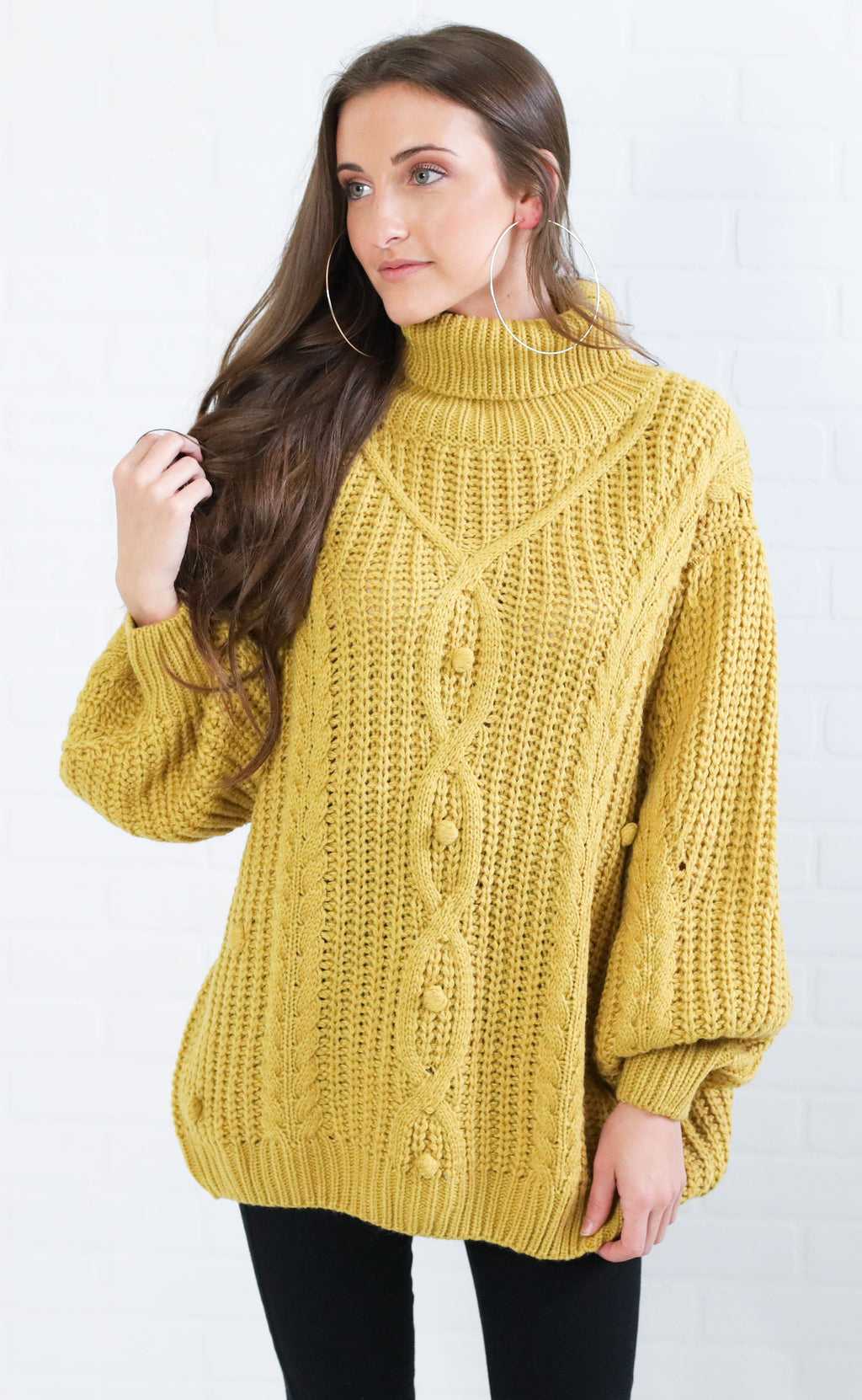 on the cowl knit sweater - mustard