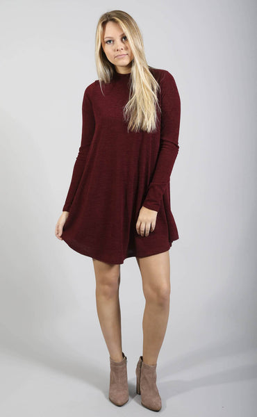 on my mind mock neck dress - burgundy